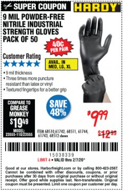 Harbor Freight Coupon 9 MIL POWDER-FREE NITRILE INDUSTRIAL GLOVE, PACK OF 50 Lot No. 68510 Valid Thru: 2/7/20 - $9.99
