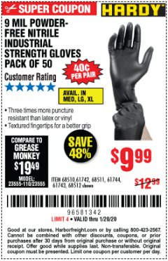 Harbor Freight Coupon 9 MIL POWDER-FREE NITRILE INDUSTRIAL GLOVE, PACK OF 50 Lot No. 68510 Expired: 1/20/20 - $9.99