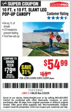 Harbor Freight Coupon 10 FT X 10 FT SLANT LEG POP-UP CANOPY Lot No. 62384/62898/62897/62899 Expired: 2/23/20 - $54.99