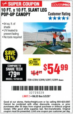 Harbor Freight Coupon 10 FT X 10 FT SLANT LEG POP-UP CANOPY Lot No. 62384/62898/62897/62899 Expired: 6/30/20 - $54.99