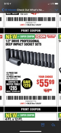 "Harbor Freight Coupon ICON 1/2"" DRIVE PROFESSIONAL DEEP IMPACT SOCKET SETS Lot No. 56211/56212 Expired: 1/26/20 - $55.99"
