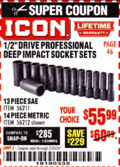 "Harbor Freight Coupon ICON 1/2"" DRIVE PROFESSIONAL DEEP IMPACT SOCKET SETS Lot No. 56211/56212 Valid Thru: 2/29/20 - $55.99"