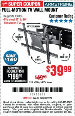 Harbor Freight Coupon FULL-MOTION TV WALL MOUNT Lot No. 56644/64357 Expired: 3/22/20 - $39.99