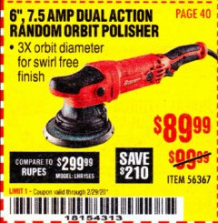 "Harbor Freight Coupon BAUER 6"", 7.5 AMP DUAL ACTION RANDOM ORBIT POLISHER Lot No. 56367 Valid Thru: 2/29/20 - $89.99"
