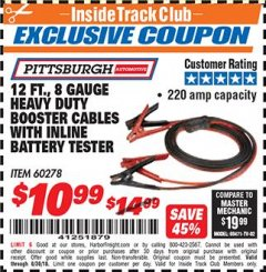 Harbor Freight ITC Coupon 12 FT. 8 GAUGE HEAVY DUTY BOOSTER CABLES WITH INLINE BATTERY TESTER Lot No. 60278/68701 Dates Valid: 12/31/69 - 6/30/18 - $10.99