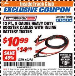 Harbor Freight ITC Coupon 12 FT. 8 GAUGE HEAVY DUTY BOOSTER CABLES WITH INLINE BATTERY TESTER Lot No. 60278/68701 Expired: 9/30/18 - $10.99