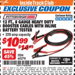 Harbor Freight ITC Coupon 12 FT. 8 GAUGE HEAVY DUTY BOOSTER CABLES WITH INLINE BATTERY TESTER Lot No. 60278/68701 Dates Valid: 10/6/18 - 10/31/18 - $10.99