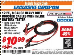 Harbor Freight ITC Coupon 12 FT. 8 GAUGE HEAVY DUTY BOOSTER CABLES WITH INLINE BATTERY TESTER Lot No. 60278/68701 Expired: 12/31/18 - $10.99
