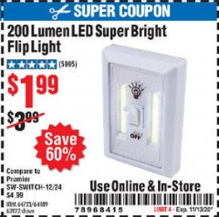 Harbor Freight Coupon 200 LUMEN LED SUPER BRIGHT FLIP LIGHT Lot No. 64189/64723/63922 Expired: 11/13/20 - $1.99