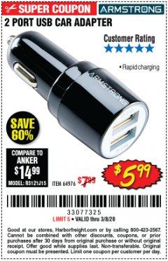 Harbor Freight Coupon 2 PORT USB CAR ADAPTER Lot No. 64976 Expired: 2/8/20 - $5.99