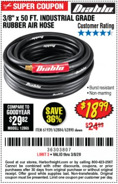 "Harbor Freight Coupon 3/8"" X 50 FT. INDUSTRIAL GRADE RUBBER AIR HOSE Lot No. 61939/62884/62890 Expired: 3/8/20 - $18.99"