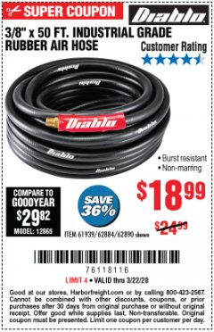 "Harbor Freight Coupon 3/8"" X 50 FT. INDUSTRIAL GRADE RUBBER AIR HOSE Lot No. 61939/62884/62890 Expired: 3/22/20 - $18.99"