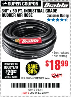 "Harbor Freight Coupon 3/8"" X 50 FT. INDUSTRIAL GRADE RUBBER AIR HOSE Lot No. 61939/62884/62890 Valid Thru: 6/30/20 - $18.99"