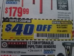 Harbor Freight Coupon 40 LB. CAPACITY FLOOR BLAST CABINET Lot No. 68893/62144/93608 Expired: 3/31/19 - $139.99
