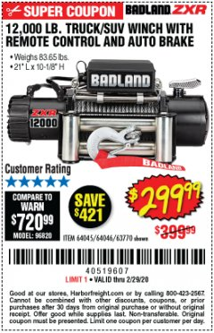 Harbor Freight Coupon 12,000 LB. TRUCK/SUV WINCH WITH REMOTE CONTROL AND AUTO BRAKE Lot No. 64045/64046/63770 Expired: 2/29/20 - $299.99