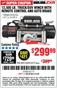 Harbor Freight Coupon 12,000 LB. TRUCK/SUV WINCH WITH REMOTE CONTROL AND AUTO BRAKE Lot No. 64045/64046/63770 Expired: 4/1/20 - $299.99