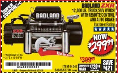 Harbor Freight Coupon 12,000 LB. TRUCK/SUV WINCH WITH REMOTE CONTROL AND AUTO BRAKE Lot No. 64045/64046/63770 Expired: 6/30/20 - $299.99