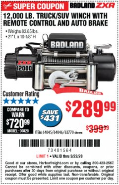 Harbor Freight Coupon 12,000 LB. TRUCK/SUV WINCH WITH REMOTE CONTROL AND AUTO BRAKE Lot No. 64045/64046/63770 Expired: 3/22/20 - $289.99