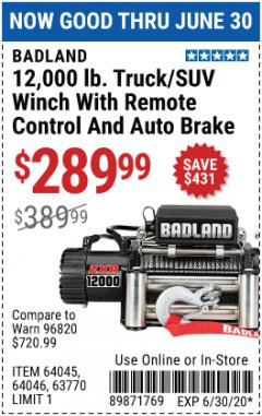 Harbor Freight Coupon 12,000 LB. TRUCK/SUV WINCH WITH REMOTE CONTROL AND AUTO BRAKE Lot No. 64045/64046/63770 Expired: 6/30/20 - $289.99