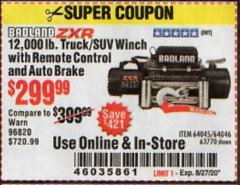 Harbor Freight Coupon 12,000 LB. TRUCK/SUV WINCH WITH REMOTE CONTROL AND AUTO BRAKE Lot No. 64045/64046/63770 Expired: 8/27/20 - $299.99