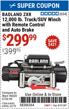 Harbor Freight Coupon 12,000 LB. TRUCK/SUV WINCH WITH REMOTE CONTROL AND AUTO BRAKE Lot No. 64045/64046/63770 Expired: 8/31/20 - $299.99