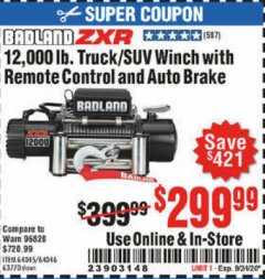 Harbor Freight Coupon 12,000 LB. TRUCK/SUV WINCH WITH REMOTE CONTROL AND AUTO BRAKE Lot No. 64045/64046/63770 Expired: 9/24/20 - $299.99