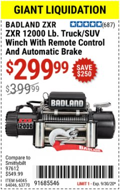 Harbor Freight Coupon 12,000 LB. TRUCK/SUV WINCH WITH REMOTE CONTROL AND AUTO BRAKE Lot No. 64045/64046/63770 Expired: 9/30/20 - $299.99