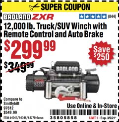 Harbor Freight Coupon 12,000 LB. TRUCK/SUV WINCH WITH REMOTE CONTROL AND AUTO BRAKE Lot No. 64045/64046/63770 Valid Thru: 3/9/21 - $299.99