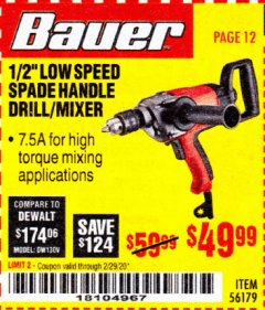 "Harbor Freight Coupon BAUER 1/2"" LOW SPEED SPADE HANDLE DRILL/MIXER Lot No. 56179 Expired: 2/29/20 - $49.99"