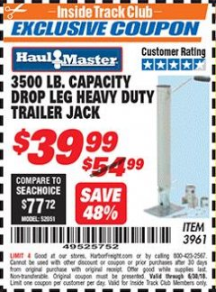 Harbor Freight ITC Coupon 3500 LB. CAPACITY DROP LEG HEAVY DUTY TRAILER JACK Lot No. 3961 Expired: 6/30/18 - $39.99