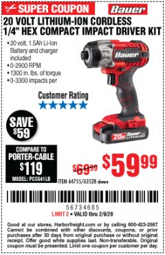"Harbor Freight Coupon 20 VOLT LITHIUM-ION CORDLESS 1/4"" HEX COMPACT IMPACT DRIVER KIT Lot No. 64755/63528 Expired: 2/9/20 - $59.99"
