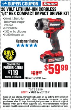 "Harbor Freight Coupon 20 VOLT LITHIUM-ION CORDLESS 1/4"" HEX COMPACT IMPACT DRIVER KIT Lot No. 64755/63528 Expired: 2/17/20 - $59.99"
