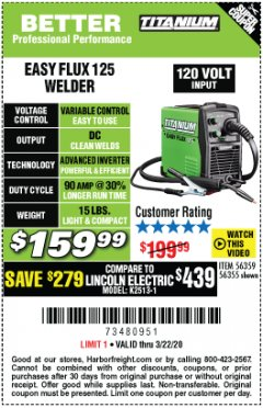 Harbor Freight Coupon EASY FLUX 125 WELDER Lot No. 56359/56355 Expired: 3/22/20 - $159.99