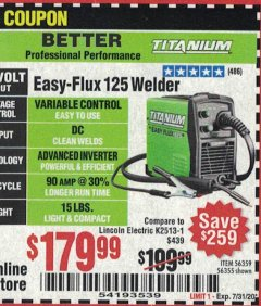 Harbor Freight Coupon EASY FLUX 125 WELDER Lot No. 56359/56355 Expired: 8/30/20 - $179.99