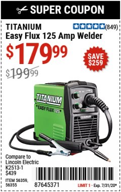 Harbor Freight Coupon EASY FLUX 125 WELDER Lot No. 56359/56355 Expired: 7/31/20 - $179.99