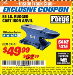 Harbor Freight ITC Coupon 55 LB. RUGGED CAST IRON ANVIL Lot No. 806/69161 Dates Valid: 2/1/19 - 2/28/19 - $49.99