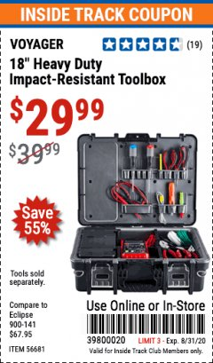 "Harbor Freight ITC Coupon 18"" HEAVY DUTY IMPACT-RESISTANT TOOLBOX Lot No. 56681 Expired: 8/31/20 - $29.99"