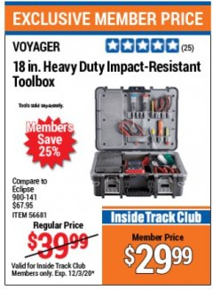 "Harbor Freight Coupon 18"" HEAVY DUTY IMPACT-RESISTANT TOOLBOX Lot No. 56681 Expired: 12/3/20 - $29.99"