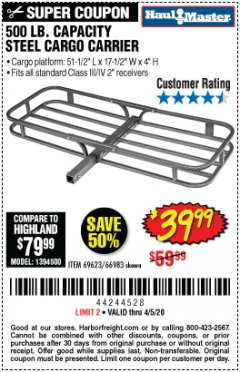 Harbor Freight Coupon 500 LB. CAPACITY STEEL CARGO CARRIER Lot No. 69623/66983 Expired: 6/30/20 - $39.99