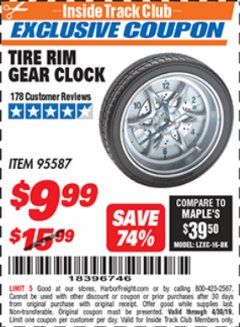 Harbor Freight ITC Coupon TIRE RIM GEAR CLOCK Lot No. 95587 Expired: 4/30/19 - $9.99