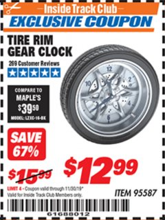 Harbor Freight ITC Coupon TIRE RIM GEAR CLOCK Lot No. 95587 Expired: 11/30/19 - $12.99