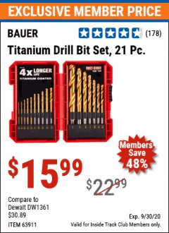 Harbor Freight ITC Coupon 21 PIECE TITANIUM DRILL BIT SET Lot No. 63911 Valid Thru: 9/30/20 - $15.99
