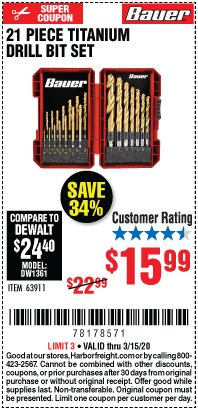 Harbor Freight Coupon 21 PIECE TITANIUM DRILL BIT SET Lot No. 63911 Expired: 3/15/20 - $15.99