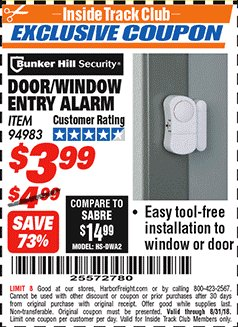 Harbor Freight ITC Coupon DOOR/WINDOW ENTRY ALARM Lot No. 94983 Expired: 8/31/18 - $3.99