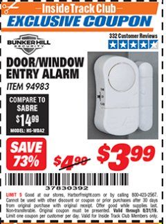 Harbor Freight ITC Coupon DOOR/WINDOW ENTRY ALARM Lot No. 94983 Expired: 8/31/19 - $3.99