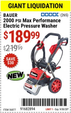 Harbor Freight Coupon 2000 PSI ELECTRIC PRESSURE WASHER Lot No. 56877 Valid Thru: 9/30/20 - $189.99
