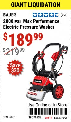 Harbor Freight Coupon 2000 PSI ELECTRIC PRESSURE WASHER Lot No. 56877 Valid: 9/1/20 - 9/30/20 - $189.99