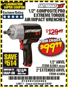 "Harbor Freight Coupon 1/2"" COMPOSITE PRO EXTREME TORQUE IMPACT WRENCHES Lot No. 62891/63800 Valid Thru: 5/30/20 - $99.99"