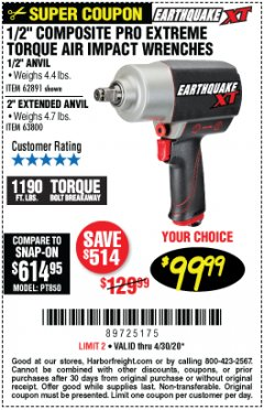 "Harbor Freight Coupon 1/2"" COMPOSITE PRO EXTREME TORQUE IMPACT WRENCHES Lot No. 62891/63800 Valid Thru: 4/30/20 - $99.99"