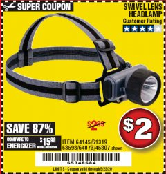 Harbor Freight Coupon HEADLAMP WITH SWIVEL LENS Lot No. 45807/61319/63598/62614 Expired: 6/30/20 - $2